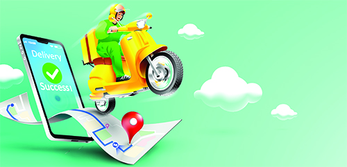 Fast delivery package by scooter on mobile phone. Order package in Vector illustration